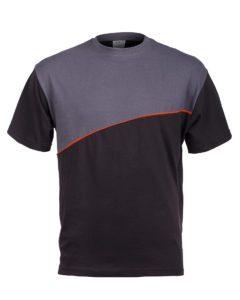 koszulka męska szaro-czarna wykonana w technice typu duch na białym tle po retuszu wygłaszenia i wyprasowania w postprodukcji